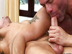 Athletic hottie's first gay suck and fuck