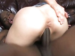 Interracial girl gets her face jizzed well