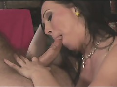 Hot brunette riding hard cock after a wet cock sucking