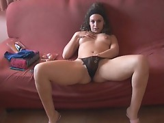 Naughty brunette slut anastasia solo pussy playing and toying fun