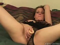 Horny brunette hottie alone and enjoying sweet dildo