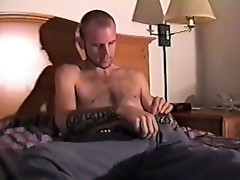 Lonely tattooed dude jerking off his own cock!