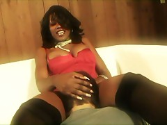Hot ebony babe forcing young dude to suck her ass