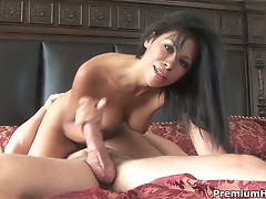Busty latina cassandra cruz jerks off a hard cock