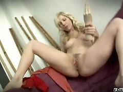 Sexy blonde slut gets her holes ready, fucking big sex toys
