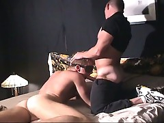 Dude swallows his friend's cock and then gets fucked from behind