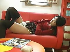 Japanese girl masturbates under her nylons
