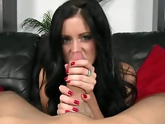 Long haired brunette fucking machine