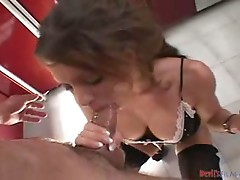 Hot young brunette get her throat fucked