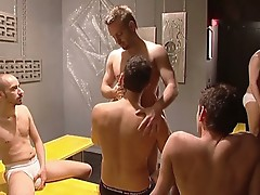 Incredible sexy gay orgy in the locker room!