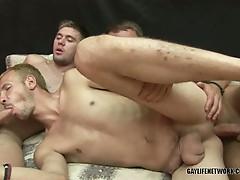 Hot gay bareback threesome and cum swap