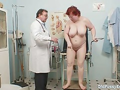 Mature redhead woman unshaved cookie gyno exam