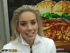 Hot blonde slut gets her pussy pounded in public