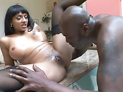 Watch this whore take a big black cock into her horny pussy