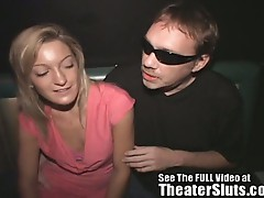 Young shy blonde fucked by older men in a theater