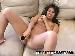 Latina babe shows how she masturbates with her sweet dildo
