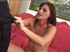 Brunette babe get hard fucked hard by a big black cock !