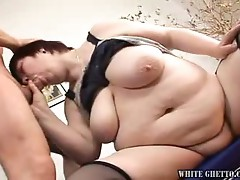Fat bitch sucking and riding hard cock