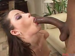 Brunette chick katja kassin loves sucking big black dick