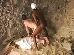 Hot black dude ramming horny white asshole