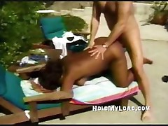 Black chick is bent over and fucked from behind on the beach