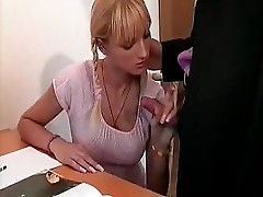 Blonde in pigtails stops reading to take a cock in the ass