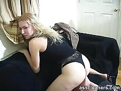 Mistress sits right on ass cleaner's face for ass licking
