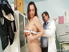 Busty Andrea gets her pussy checked out by a doctor with old tools