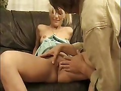 Young blonde with glasses takes on an older cock and fucks