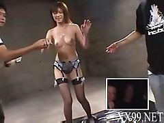 Asian girl gets a load on her face by these two strange guys