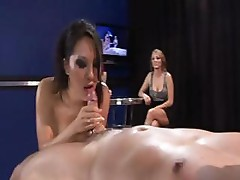 Asa Akira gets drenched with oil and fucked in front of her kitty friends