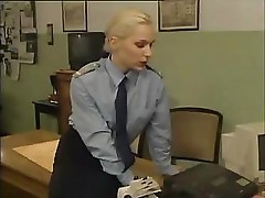 Office sex with a hot blonde who lays out on the table to fuck