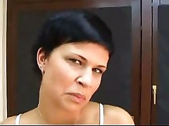Dark haired girl does a great blowjob on her home webcam POV