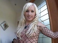 Jocelyn Jayden stays in her fishnet and gets her ass fucked