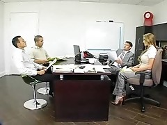 MILF with amazing huge boobs doesn't mind playing with her office colleague