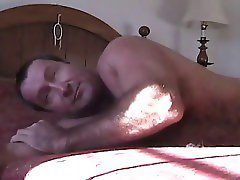 Hairy daddy has a relaxing day