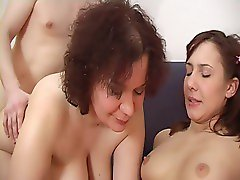 Nice trio - the guy with his girlfriend and a mature whore