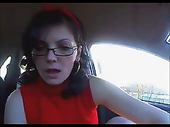 red dressed girl playing in car part 1