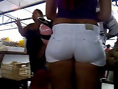 Candid Juicy Ass in white shorts