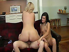 Woman with a thick ass, hanging tits, a guy & his girlfriend