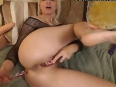 Fishnet Blond Soaking Wet Cunt HD