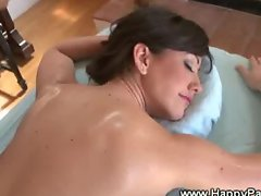 Brunette gets rubbing down