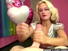 Pink room tug job from eager horny blonde slut