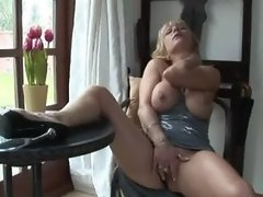 UK mature pornstar Jane Bond gets off in her study