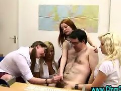 Sexy cfnm schoolgirls teach cfnm dick