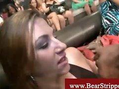 Cfnm brunette enjoying dick in public