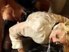 Bukkake soaked gloryhole babe gets fucked