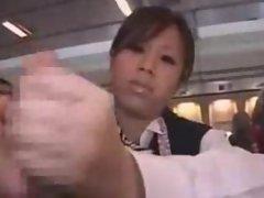 Japanese Stewardess Handjob - Part 3