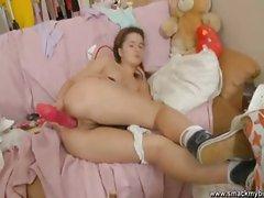 Lara teen school girl with a dildo masturbate,Amanda