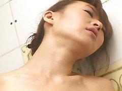 Japanese girl masturbates in shower